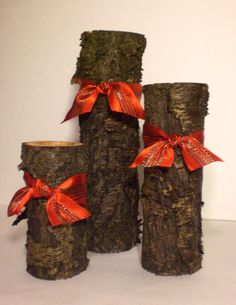What a cool idea - Rustic Log Candle Holders
