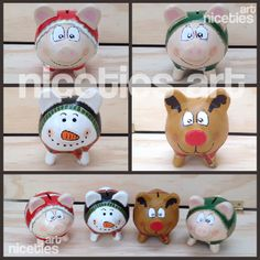 Alcancías navideñas ideales para regalo Piggybank Navidad christmas gift Piggy Banks, Pottery Painting, Paper Mache, Stencils, December, Christmas Ornaments, Holiday Decor, Gifts, Wood