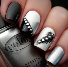 Black and Silver Nail Design for Long Nails