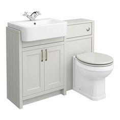 SHOP the Chatsworth Traditional Grey Semi-Recessed Vanity Unit + Toilet Package at Victorian Plumbing UK Bathroom Vanity Units, Bathroom Furniture, Compact Bathroom, Bathroom Basin, Bathroom Cabinets, Modern Bathroom Design, Bathroom Interior Design, Restroom Design, Bathroom Designs