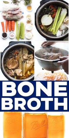 Paleo Keto Instant Pot Chicken Stock Bone Broth Recipe Video - make your own tastier bone broth at home for a fraction of the price. Use in soups sauces or sipping! Slow Cooker Bone Broth, Beef Bone Broth, Recipes With Beef Bones, Real Food Recipes, Soup Recipes, Paleo Recipes, Recipies, Chicken Bone Broth Recipe, Gluten Free Chicken Broth Recipe