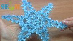 Crochet Big Snowflake Motif Tutorial 5 Part 1 of 2 Crochet Christmas Orn...