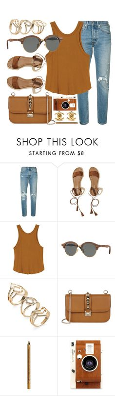 """New Look"" by smartbuyglasses ❤ liked on Polyvore featuring Levi's, Hollister Co., RVCA, Ray-Ban, Valentino, NYX, LØMO, Chanel and brown"
