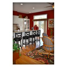 red kitchen walls. This color would look good in our new kitchen to match the white cabinets. Plus it would cover the old color good.