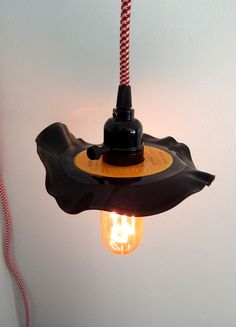 Custom Upcycled 45 Vinyl Record Plug-in Pendant Light