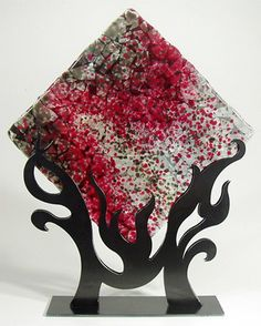 Flame Fused Glass Panel ~   Brenda Griffith Fused Glass