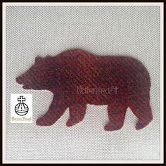 1 x 8in Woodland Bear, Red/Brown Mix, Harris Tweed Wool Fabric ,Cut Out, Iron On, Appliqué by Nairncraft on Etsy