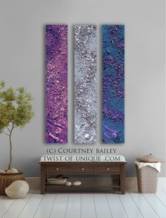 Huge Abstract painting, 3 panel CUSTOM absract Wall Art- Large Modern abstract artwork - turquoise, Orange, red, Gray. $306.00, via Etsy.