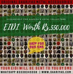 Eidi Worth Rs 550,000 ! for Saariya's Loyal Collectors | Yes ! We want to make your Eid Special ❤️🌟❤️ If you are Saariyas Frequent Badge Collector , Then you have Every Reason to Rejoice , Our Team will send you 'Unique Code' by SMS that you can use on www.saariyas.com directly and Purchase any thing worth same Eidi Value Absolutely FREE ! Yes you heard us Right Same as Value of Code Absolutely FREE In case you select something worth more than your Eidi , then you need to pay the Differe Eid Special, The Collector, Lapel Pins, Photo Wall, Make It Yourself, The Originals, Holiday Decor, Metal, Frame