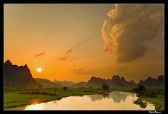 Sunset over the Li River Guangxi Province, China