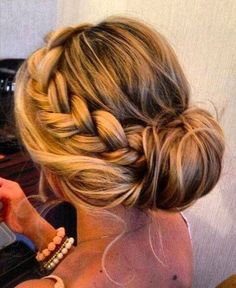I like this braid, loose hair left out on the side and front. But would want the messy side bun with curls show in the other pin with no braid.