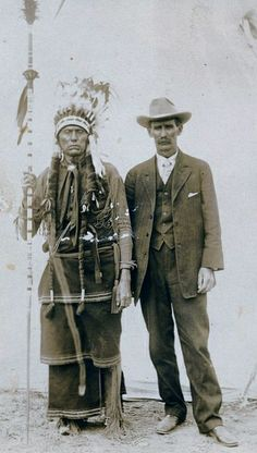 Chief Quanah Parker with W. C. Riggs at a Fat Stock show in Ft. Worth, TX, no date.