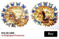 "Peacock Earrings AB Blue Rhinestones Gold Metal Butterfly Post Backs Round Shape 3/4"" Vintage"