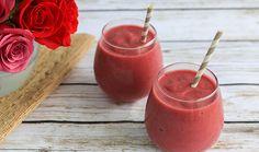 Sweetheart Smoothie using TJ 's ingredients: almond milk, tart cherry juice, coco oil, beets, strawberries.