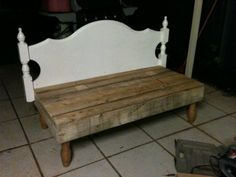 Progress photo of the bed head chair. Made from recycled pallets & an old bed head.
