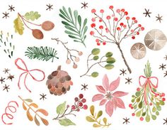 Watercolor Clipart, Christmas Watercolor Clip Art, Winter Clipart, Digital Watercolor Clipart, Watercolor Christmas, Holiday Watercolor Art