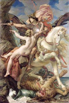 """""""The Deliverance; Ruggiero And Angelica"""" de Joseph Paul Blanc. Rogelio está prisionero del mago Atlante y Bradamante va en su búsqueda para liberarlo, huyendo del lugar al lomos de un hipogrifo. De esa guisa halla a Angélica, quien ha sido atada a una roca para ser devorada por un monstruo marino. Prendado de su belleza, Rogelio la salva. Sin embargo, Angélica huye de él; en realidad, parece ser que sólo Medoro logrará tocar el huidizo corazón de Angélica"""