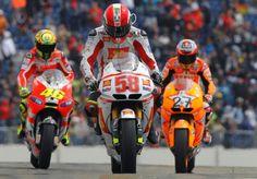 3 MotoGP legends:  #46 - Valentino Rossi #58 - Marco Simoncelli #27 - Casey Stoner