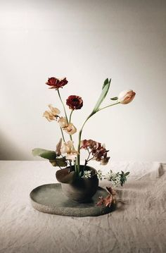 Minimal Flower Arrangements: The New Ikebana-Inspired Look - Flowers with the poise and beauty of a Renaissance painting. Ikebana Arrangements, Ikebana Flower Arrangement, Floral Arrangements, Love Flowers, Dried Flowers, Beautiful Flowers, Wedding Flowers, Beautiful Beautiful, Table Flowers