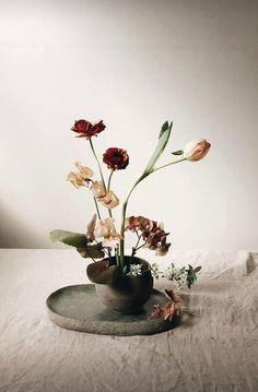 Minimal Flower Arrangements: The New Ikebana-Inspired Look - Flowers with the poise and beauty of a Renaissance painting. Ikebana Arrangements, Ikebana Flower Arrangement, Modern Flower Arrangements, Flower Vases, Cactus Flower, Arreglos Ikebana, Sogetsu Ikebana, Vase Design, Pressed Flower Art