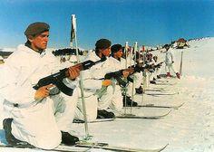 Yugoslav People's Army (JNA) ski troopers in training.