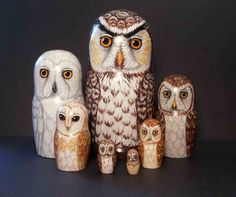 Nesting Doll Owls Set of 7 Creatures of The Moon by SavageArtworks, $135.00