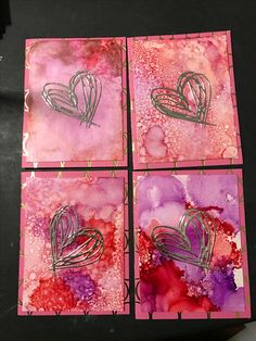 Alcohol ink valentine cards made this weekend
