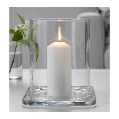 IKEA GLASIG lantern The clear glass reflects and enhances the warm glow of the candle-flame. Lantern Chandelier, Candle Lanterns, Candle Jars, Candle Holders, At Home Furniture Store, Modern Home Furniture, Chandeliers, Ikea Wedding, Wedding Decor