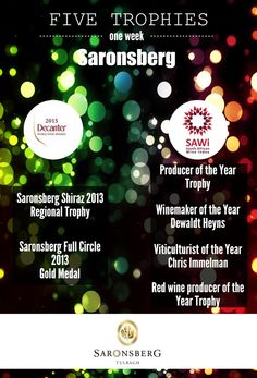 Five trophies in one week for Saronsberg. Decanter, Red Wine, Carafe, Red Wines