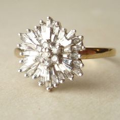 1950's Baguette Diamond Starburst Ring, Vintage Diamond Flower Ring, 9k Gold Size US 7.75. $348.00, via Etsy.