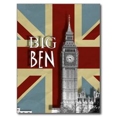 Big Ben London's World famous landmark clock set on a background of a grungy vintage style Union Jack, makes a great postcard either to collect or post to a friend. #union #jacks #big #ben #famous #clock #british #london #united #kingdom #flags #vintage #grunge #grungy #modern #picture #image #card #cards #postcard #postcards #stationery #travel #clock #tower #england #houses #of #parliament