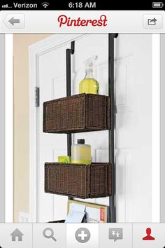 Bathroom storage on door..great idea!