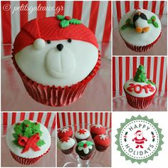 Christmas decorated cupcakes! Decorated Cupcakes, Christmas Decorations, Desserts, Food, Tailgate Desserts, Deserts, Christmas Decor, Essen, Dessert