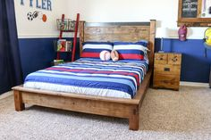Build a beautiful Rustic Double Bed using this free project building plan. You can make this DIY bed using simple tools and materials.