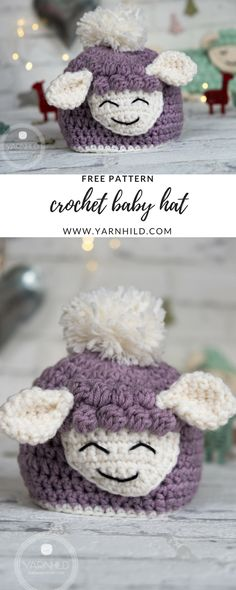 Crochet Baby Hat - Sverre the Lamb. Free pattern on yarnhild.com Pattern in Norwegian and English