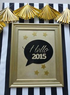 Gold and black New Year's party sign!  See more party planning ideas at CatchMyParty.com!