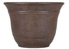Akro-Mils Lawn & Garden Sierra Resin Pot Planter with Saucer (Set of Color: Chestnut Brown, Size: H x W x D Resin Planters, Flower Planters, Garden Planters, Flower Pots, Planter Pots, Decorative Planters, Container Garden, Plastic Planter Boxes, Esschert Design