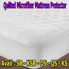 $39.95 / free delivery  Features :  Quilted Fully fitted for easy fit Machine Washable Set includes :  1 x Quilted Mattress Protector Sizing Information :  Single - 91cm x 193cm x 36cm King Single - 107cm x 206cm x 36cm Double - 137cm x 193 + 36cm Queen - 152cm x 203 + 36cm King  - 183cm x 203 + 36cm Fabrication :  Microfibe Cover, Polyester Filled Care Instructions :  Machine Washable See label for detailed instructions before first use