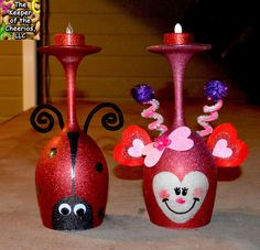 The Keeper of the Cheerios: LOVE BUG AND LADY BUG WINE GLASS CANDLE HOLDERS