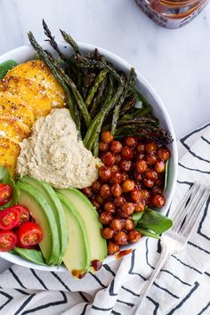 Spicy BBQ Chickpea and Crispy Polenta Bowls with Asparagus + Ranch Hummus.