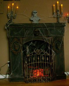 Cardboard fireplace with Dollar Store items