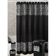 Black Mosaic Stone Fabric Shower Curtain And Hooks