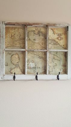 DIY coat rack! Use an old window and add in your favorite travel memories! #MohawkHomeWanderlustContest #LoveComingHome
