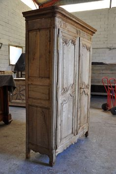 French Antique Mid 19th Century Armoire In Bleached Oak | From a unique collection of antique and modern wardrobes and armoires at https://www.1stdibs.com/furniture/storage-case-pieces/wardrobes-armoires/