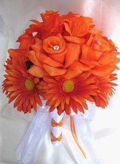 10 PC Wedding Bouquet Bridal Flowers Orange Daisy | eBay