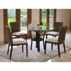 Panama Jack Sunroom Sanibel 5 Piece Dining Set Upholstery: Deco Spa