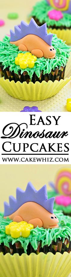 Use this step by step tutorial to make EASY DINOSAUR CUPCAKES out of marshmallow fondant. You don't need any fancy cutters or tools either. Great for Dinosaur themed birthday parties! From cakewhiz.com