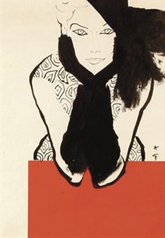 Illustration Vintage - Femme au chapeau Noir - Gruau