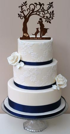 8e4e3fa669b84 Wedding cake topper Couple with dog wedding couple silhouette | Etsy