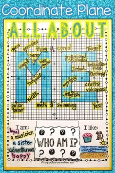 This all about me activity is perfect for back to school!  Students graph ordered pairs and answer specific prompts about themselves at each point.  This is a fun way to get to know your middle-school math students at the beginning of the year, and it looks great on a bulletin bard display for open house!